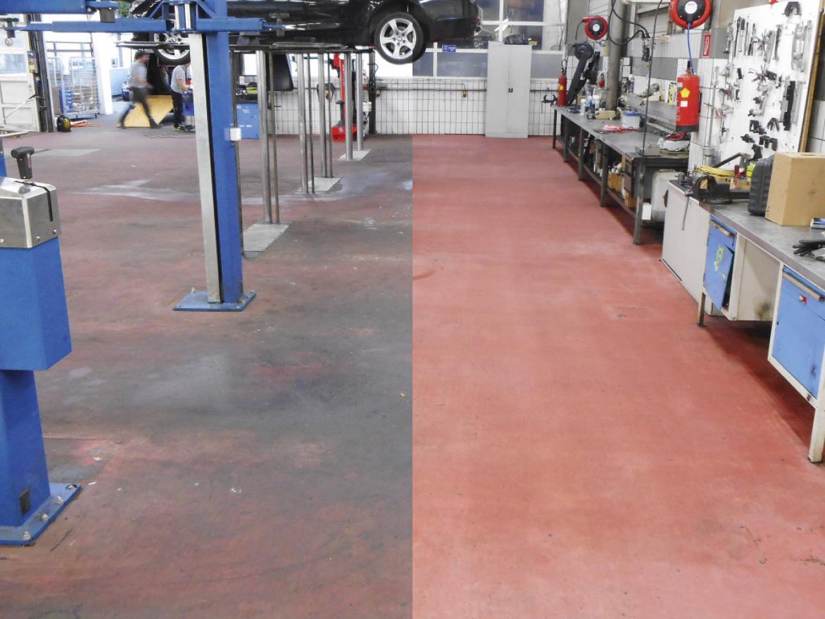 Vergleichsbild eines Werkstättenbodens aus Epoxidharz, links dreckig, rechts sauber.